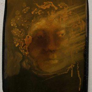 Lady Icon, 2012, 25 x 35 cm, oil, varnish, acrilic, on canvas with fabric