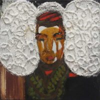 Traditional, 2012, 40 x 40 cm, oil, acrylic, fabric on canvas
