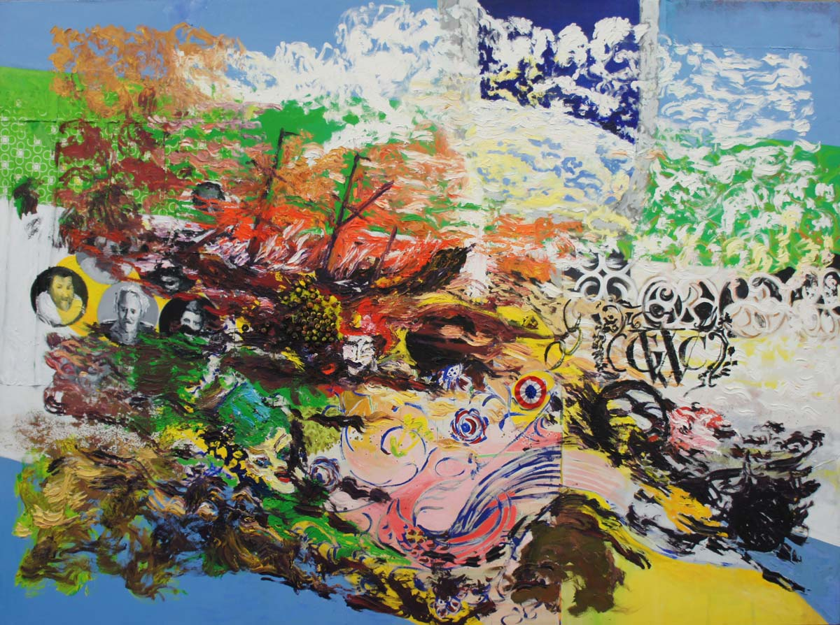Slaveship (after W. Turner), 2013, 325 x 225 cm, various paints, beads, objects