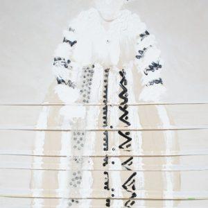 White Kotomisi, 2012, 130 x 200 cm, oil, beads, on wrinkled canvas