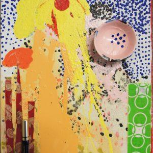 Elephante Amarillo, . 2012, 40 x 50 cm, oil, acrylic, make-up, cup on canvas