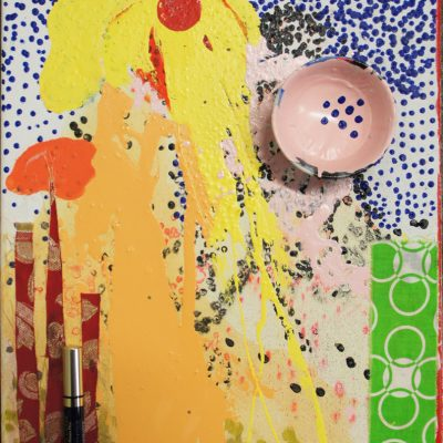 Elephante Amarillo, . 2012, 40 x 50 cm, oil, acrylic, make-up, cup on canvas