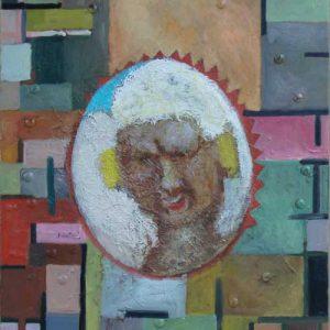 Ancester, 2012, 65 x 80 cm, oil, threads on canvas