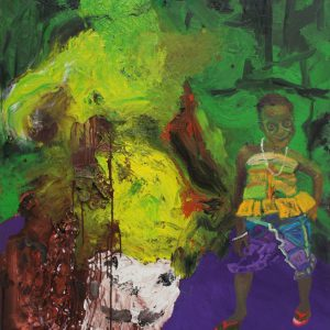 The beautiest and the beast, Afromo, 2009/2013, 125 x 195 cm, oil, jewelry on canvas