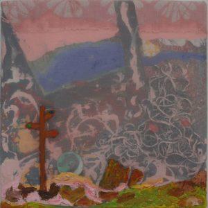 Rode, blauwe, groene wandeling, 2010/2013, 50 x 50 cm, oil, acrilic, enamel, thread, buttons on canvas