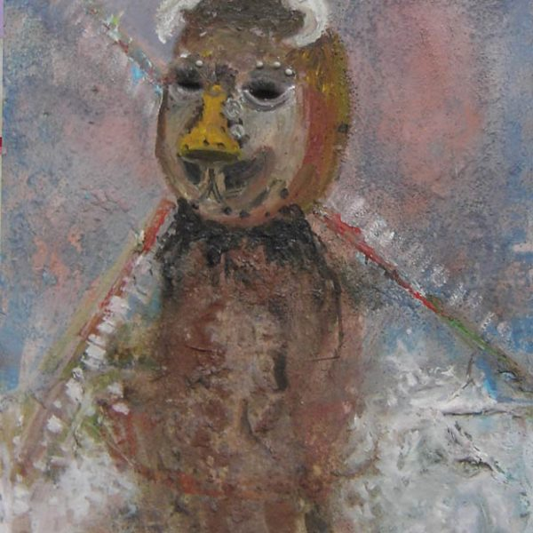 Mill Mask, 2009, paint, beads, pins, on canvas