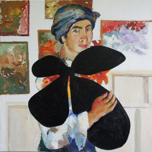 Natalja Gontcharova carrying a Motherwell, after painting to many flowers and birds, while her position refers to the image of Maplethorpes' photo of Louise Bourgeois. 100 x 100 cm, 2016
