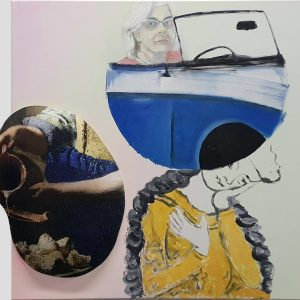 Milkmaid, back to the future, selfportrait, 2019, 100 x 100cm