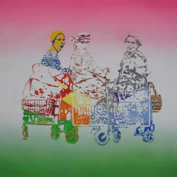 Three older ladies chatting, 175 x 140 cm