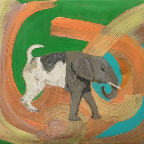 Dog wants to be an elephant, 50 x 65 cm, acrylic-, oilpaint on filled canvas