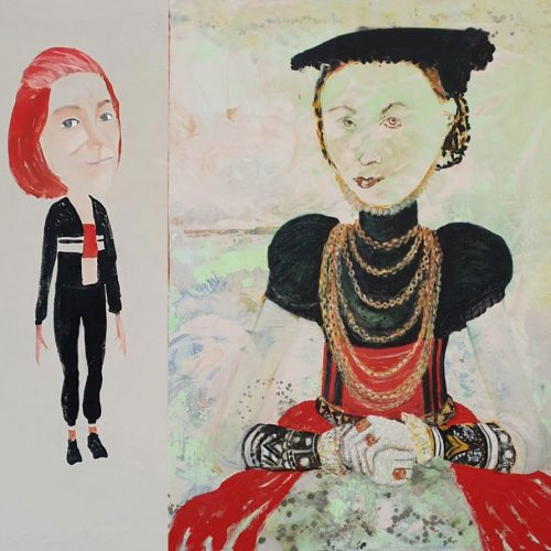 A parallel between the old painting of Cranach and an emoji*  which you can make with the newest mobile phone, 130 x 155 cm, 2019
