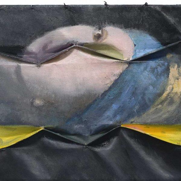 Sleeping beauty, 2020, 25 x 35 cmverf op gesmokt doek