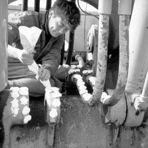 Slagroom performance, 1993, Amsterdam harbour