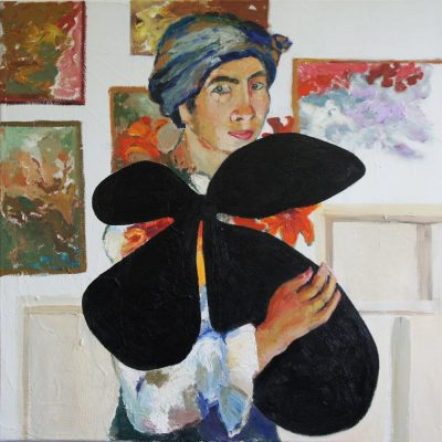 Natalja Gontcharova carrying a Motherwell, after painting to many flowers and birds, while her position refers to the image of Maplethorpes' photo of Louise Bourgeois, 2016,100 x 100 cm
