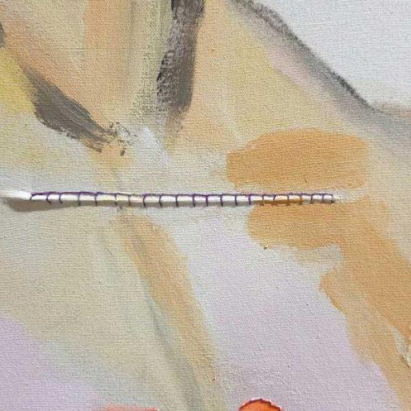 detail, Adamsappel, 85 x 65 cm, acrylverf, garen, wol, linnen roosje, vlindervleugel