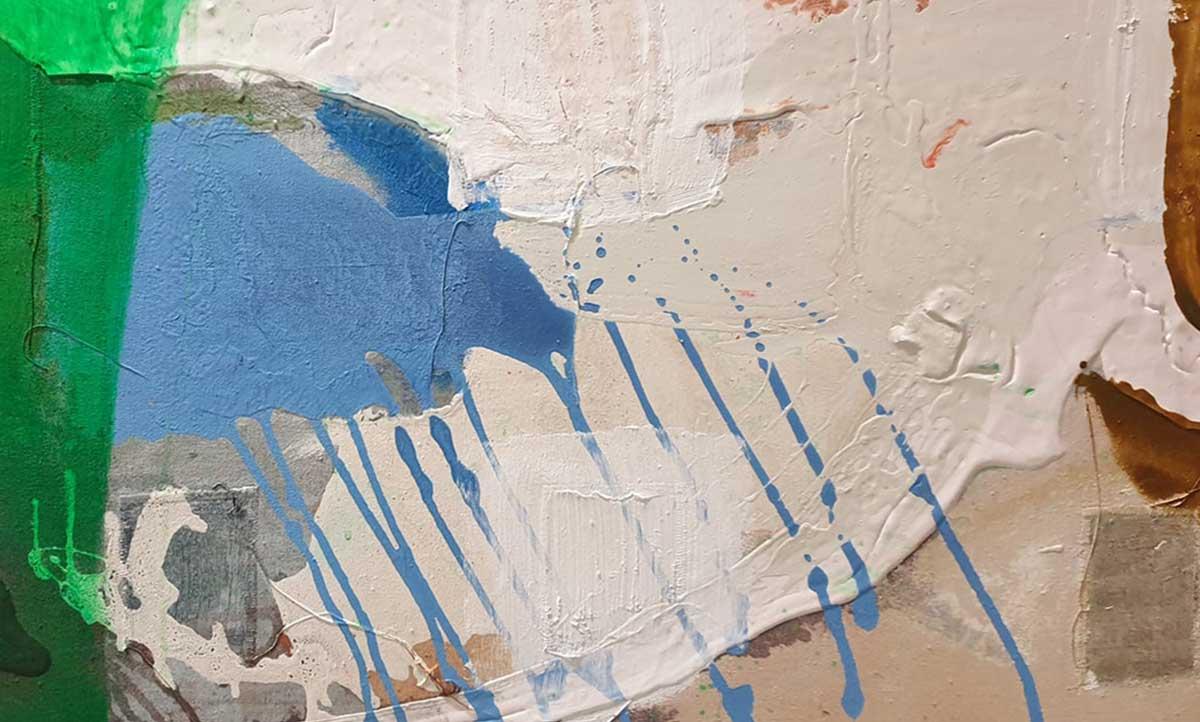Hetisongelijkverdeeldindewereld, 165 x 130 cm, oil- acrylicpaint, threads, beads, rubberbands, plaster