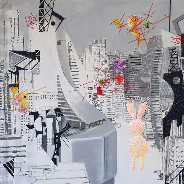 Skyscraper, 150 x 150 cm acrylic paint, glitters & wool