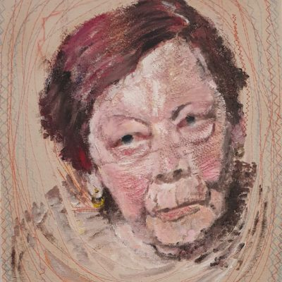 Old lady with dyed hair, 50 x 40 cm, acrylic paint, threads, sewed patterns