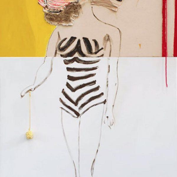 Lion Barbie, 200 x 80 cm, olie-acrylverf, lapjes, bont, naald, balletje op doek