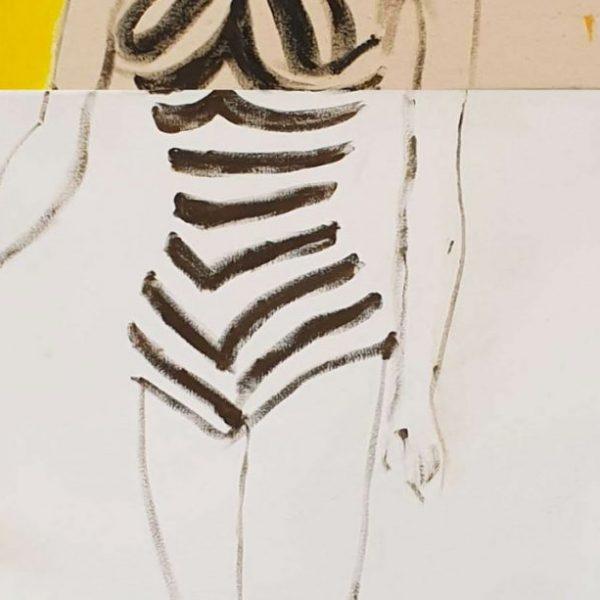 detail Lion Barbie, 200 x 80 cm, olie-acrylverf, lapjes, bont, naald, balletje op doek