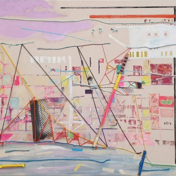 Harbour Construction, 125 x 195 cm, threads oil-, acrylic paint, wood on canvas