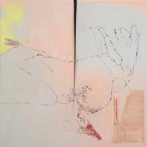Swan, 190 x 190 cm, acrylic paint, filt, threads, sewn pleat on cotton