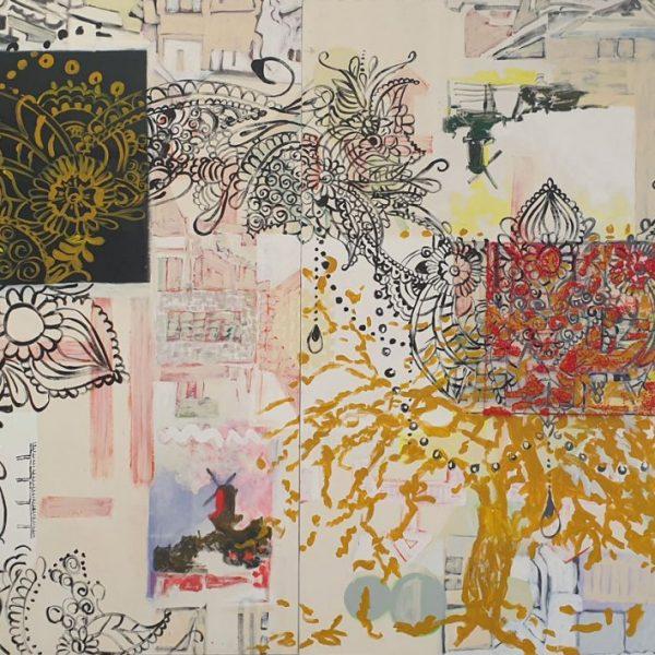 Growth, 185 x 2.10 cm, oil-, acrylic paint, tufted wool on canvas